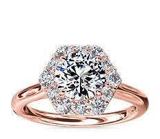 Anillo de compromiso con halo de diamantes en pavé y forma hexagonal en oro rosado de 14k (3/8 qt. total)