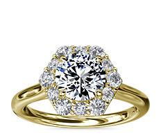 新款 14k 金密钉六边形光环钻石订婚戒指(3/8 克拉总重量)