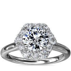 NEW Pavé Hexagon Halo Diamond Engagement Ring in Platinum (3/8 ct. tw.)