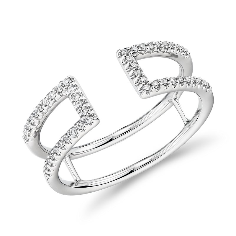 Pavé Open Bar Diamond  Fashion Ring in 14k White Gold (1/6 ct. tw.)