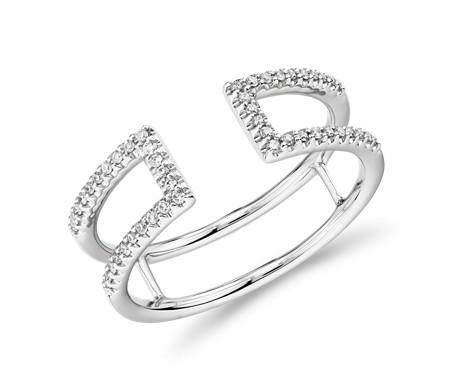 14k 白金 密釘開口長條鑽石時尚戒指<br>( 1/6 克拉總重量)