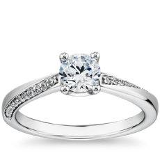 14k 白金密钉涡状钻石订婚戒指(1/10 克拉总重量)