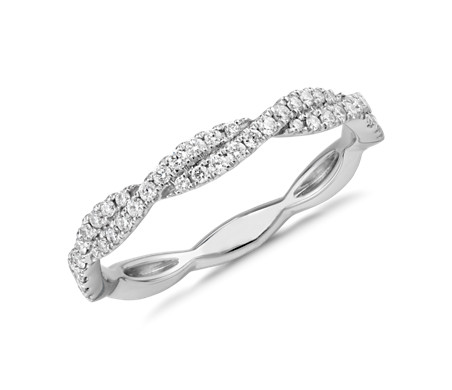 Pave Twist Diamond Ring in 14k White Gold