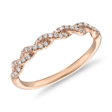 Pave Twist Diamond Wedding Ring in 14K Rose Gold