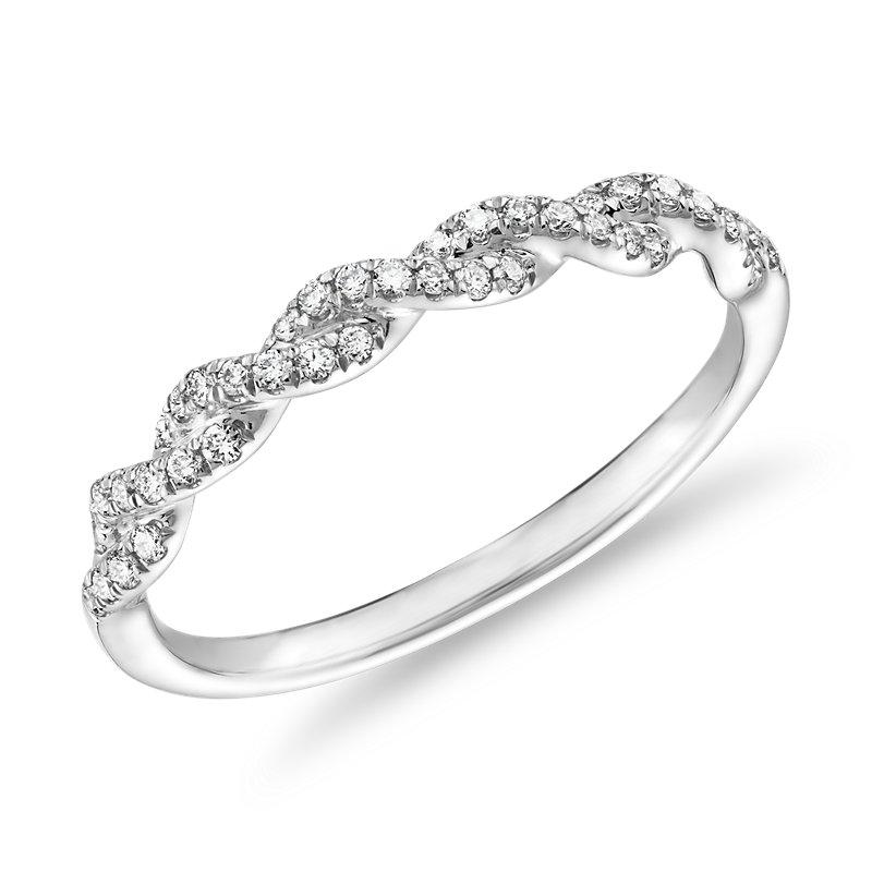Pave Twist Diamond Wedding Ring in 14K White Gold (1/8 ct. tw.)
