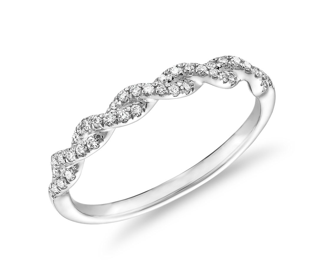 Alliance torsadée diamants sertis pavé en or blanc 14 carats