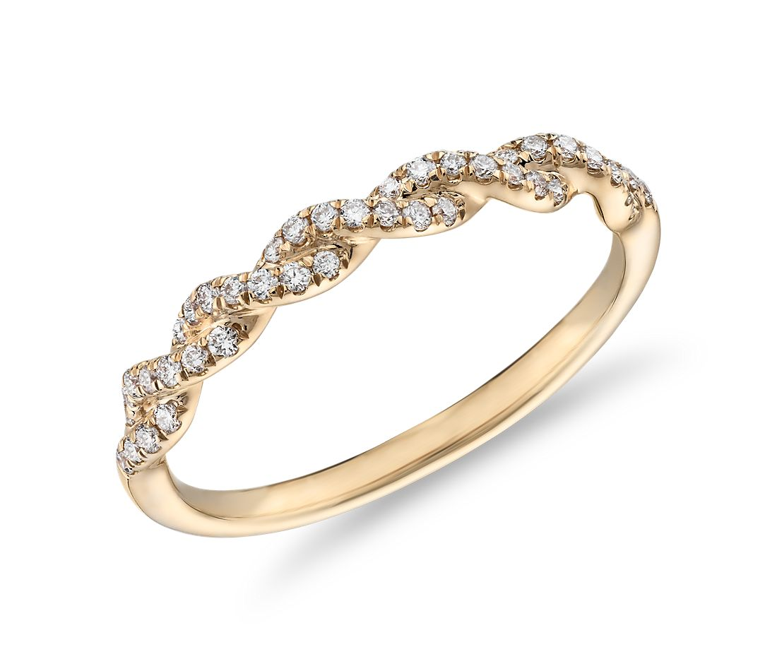 Pave Twist Diamond Wedding Ring in 14K Yellow Gold
