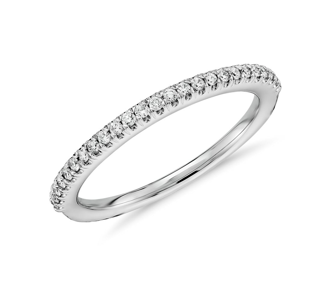 Pave diamond wedding ring in 14k white gold 1 6 ct tw for Pave wedding rings