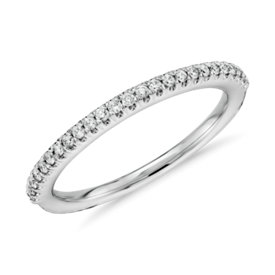 Alliance en diamants sertis pavé en or blanc 14 carats (1/6 carat, poids total)