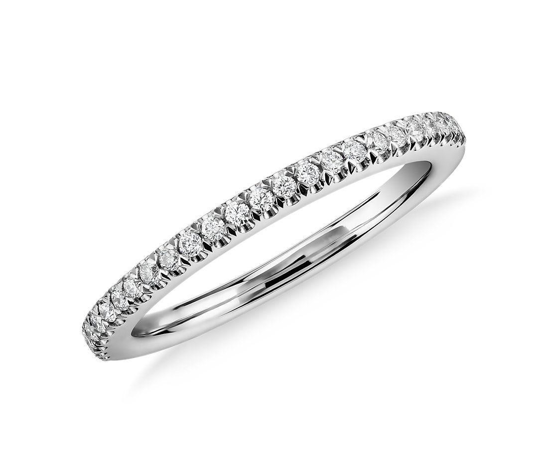 Pavé Diamond Wedding Ring In 14k White Gold 1 6 Ct Tw