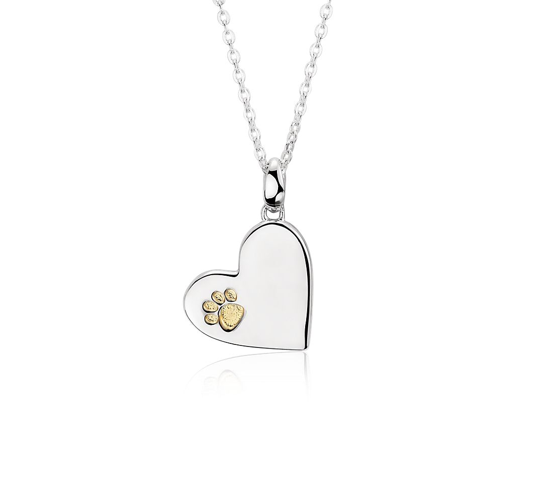 Paw Print Heart Pendant in Sterling Silver and Yellow Gold Vermeil
