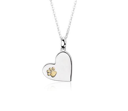 Colgante en forma de corazón con huella de pata en plata de ley y Plata bañada en oro amarillo de 18k