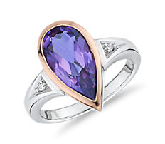 Two-Tone Pear-Shaped Amethyst and Diamond Fashion Ring in 14k Rose and White Gold (14x7mm)