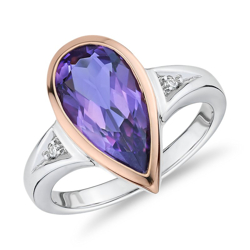 Two-Tone Pear-Shaped Amethyst and Diamond Fashion Ring in 14k Ros