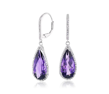 Pear-Shaped Amethyst Drop Earrings with White Topaz Halo in Sterling Silver (18x8mm)