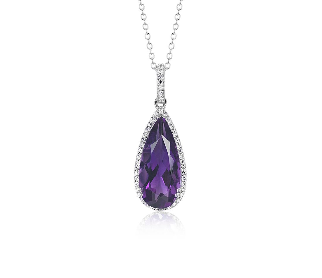 Pear Amethyst Pendant with White Topaz Halo in Sterling Silver (18x8mm)
