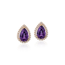 Pear Amethyst Stud Earrings with Diamond Halo in 14k Rose Gold (9x6mm)