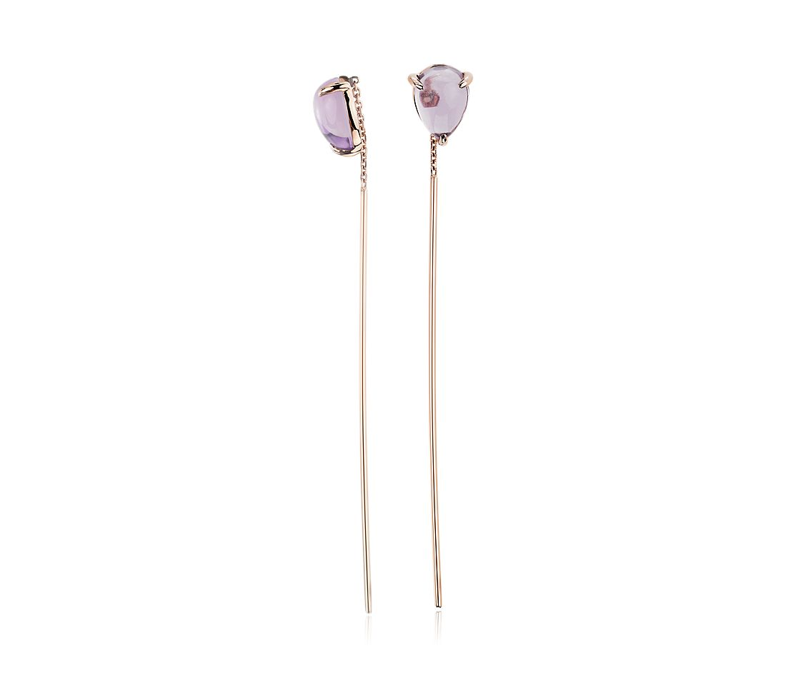 Pear-Shaped Amethyst Threader Earrings in 14k Yellow Gold (7x5mm)