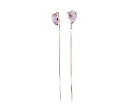 Pear shaped Amethyst Threader Earrings
