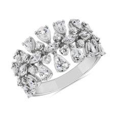 新款 14k 白金梨形與欖尖形鑽石時尚戒指 (1 5/8 克拉總重量)