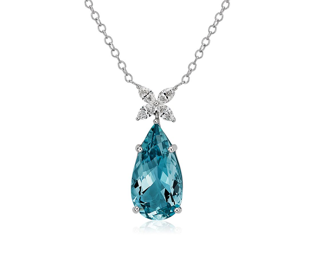 Pear Aquamarine and Marquise Diamond Pendant in 18k White Gold