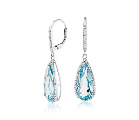 Pear-Shaped Blue Topaz Drop Earrings with White Topaz Halo in Sterling Silver (18x8mm)