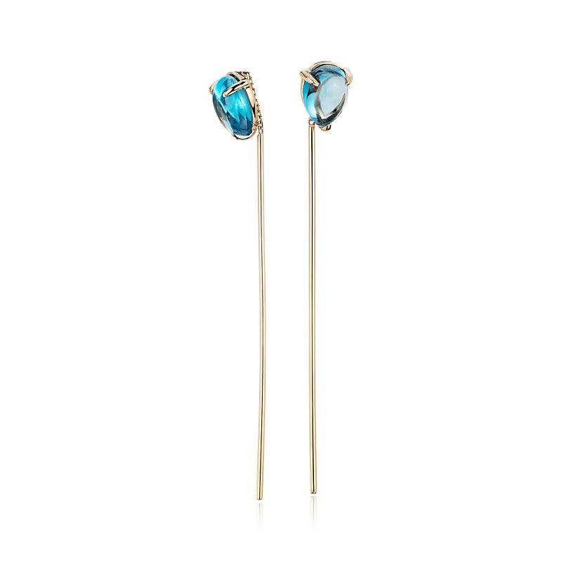 Pear-Shaped Swiss Blue Topaz Threader Earrings in 14k Yellow Gold