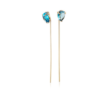 Pear-Shaped Swiss Blue Topaz Threader Earrings in 14k Yellow Gold (7x5mm)