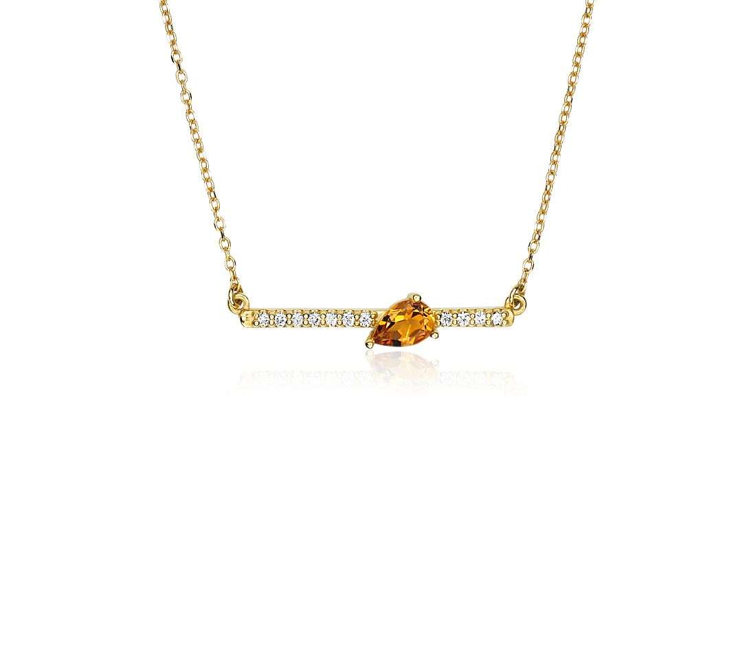 Collier barre citrine forme poire et diamants sertis pavé en or jaune 14 carats (6 x 4 mm)