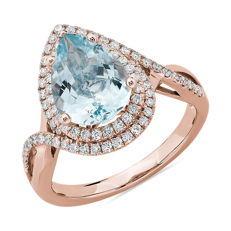 Pear Cut Aquamarine Ring with Double Diamond Halo in 14k Rose Gol
