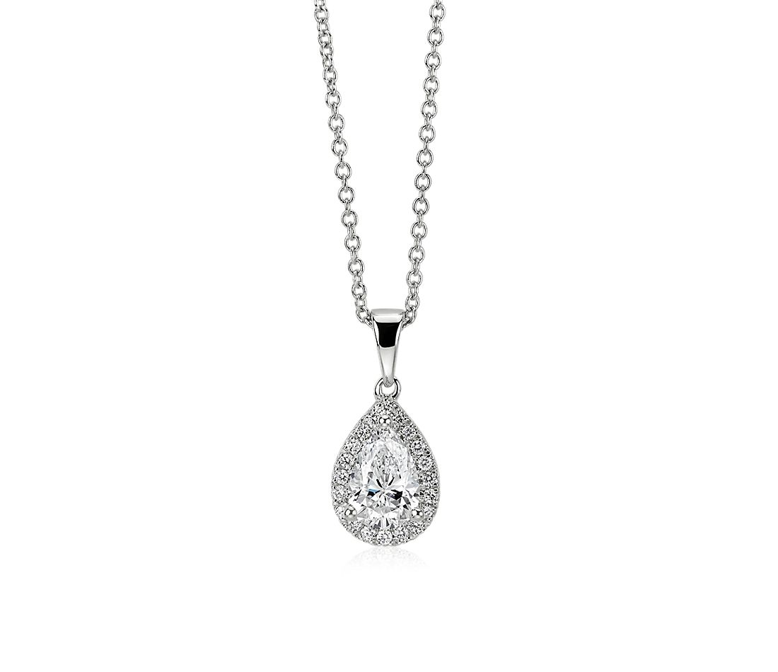 Pear-Cut Diamond Halo Pendant in 14k White Gold (0.82 ct. tw.)