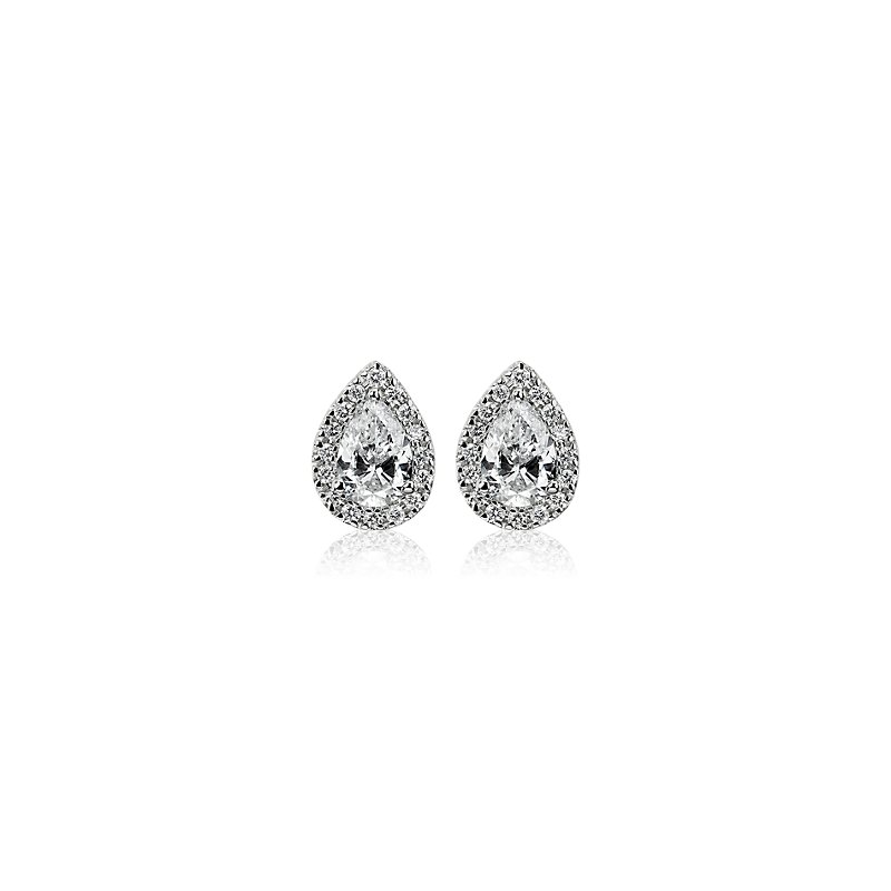 Pear-Cut Diamond Halo Stud Earrings in 14k White Gold (3/4 ct. tw
