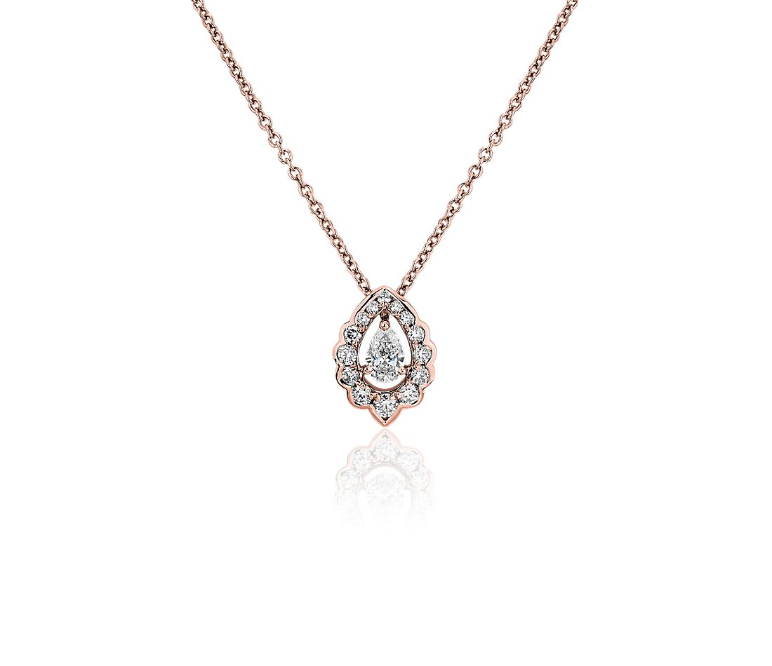 Pear-Cut Diamond Scalloped Halo Pendant in 14k Rose Gold (1/3 ct. tw.)