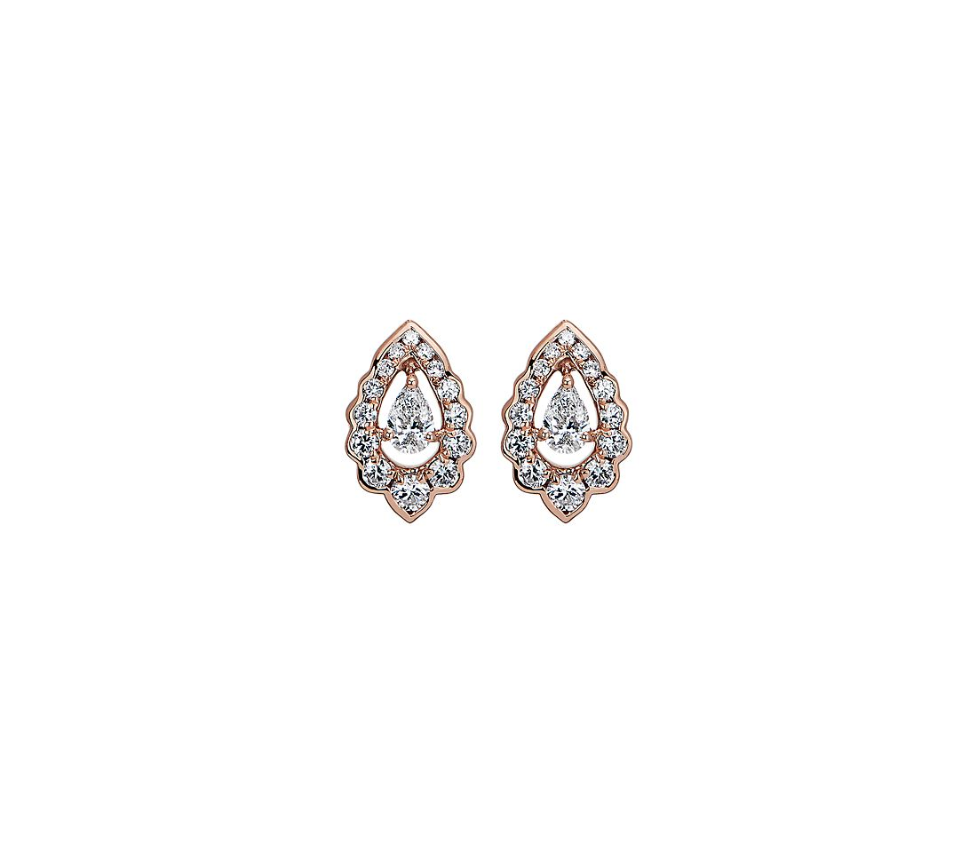 Pear-Cut Diamond Scalloped Halo Stud Earrings in 14K Rose Gold (1/2 ct. tw.)