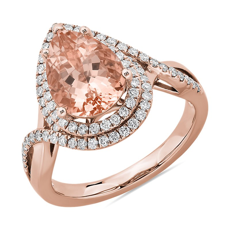 Pear Cut Morganite Ring with Double Diamond Halo in 14k Rose Gold