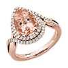 14k 玫瑰金梨形切割铯绿柱石和钻石双光环戒指