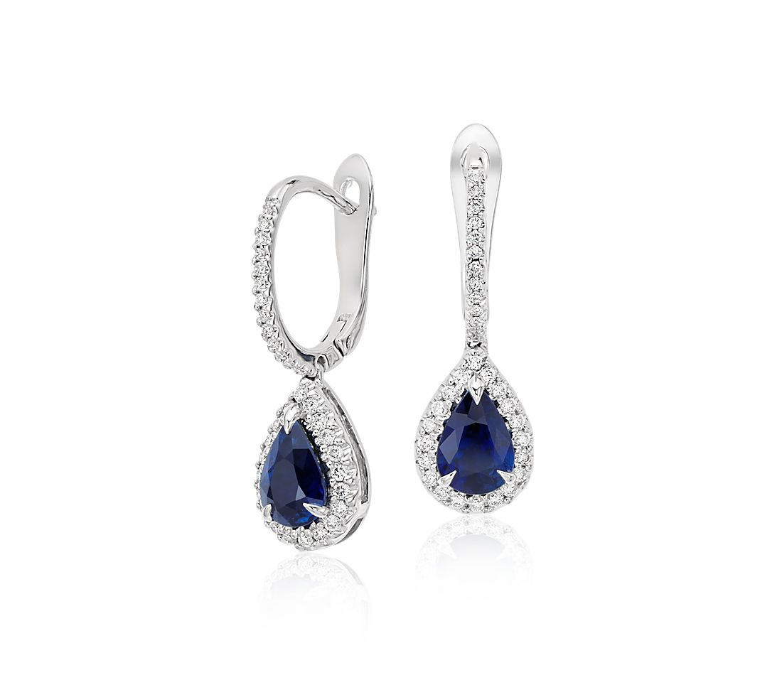 Pear Sapphire And Diamond Pav 233 Drop Earrings In 18k White