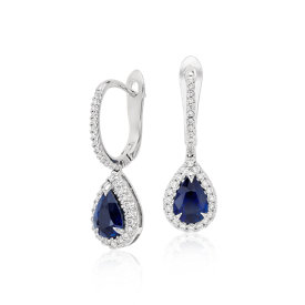 Pear Sapphire and Diamond Pavé Drop Earrings in 18k White Gold (7x5mm)