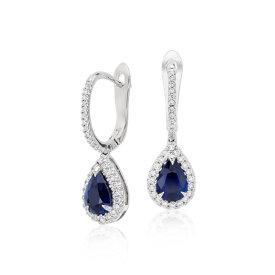 Aretes colgantes con pavé de diamantes y zafiro en forma de pera en oro blanco de 18 k (7x5mm)