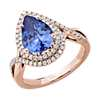 Pear Cut Tanzanite Ring with Double Diamond Halo in 14k Rose Gold