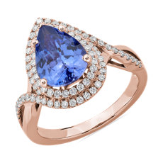 NEW Pear Cut Tanzanite Ring with Double Diamond Halo in 14k Rose Gold