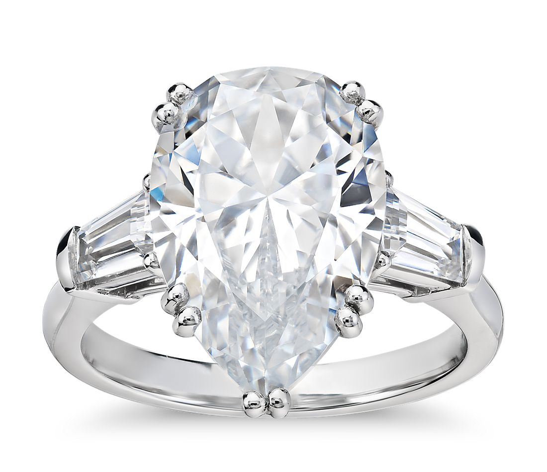 Blue Nile Studio Pear Tapered Baguette Engagement Ring In