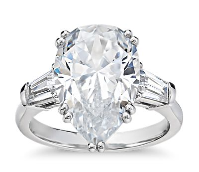 Blue Nile Studio Pear Tapered Baguette Engagement Ring in Platinum