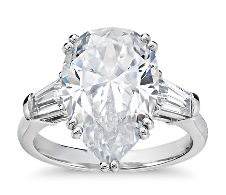Blue Nile Studio Pear Tapered Baguette Engagement Ring in Platinum (1/2 ct. tw.)