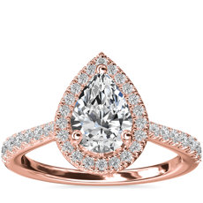 Pear Diamond Bridge Halo Diamond Engagement Ring in 14k Rose Gold (1/3 ct. tw.)