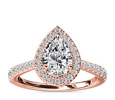 Pear Diamond Bridge Halo Diamond Engagement Ring in 14k Rose Gold (1/3 ct. tw.)