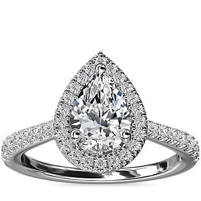 Pear Diamond Bridge Halo Diamond Engagement Ring in 14k White Gold (1/3 ct. tw.)