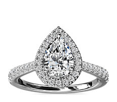 NEW Pear Diamond Bridge Halo Diamond Engagement Ring in 14k White Gold (1/3 ct. tw.)