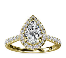 NEW Pear Diamond Bridge Halo Diamond Engagement Ring in 14k Yellow Gold (1/3 ct. tw.)