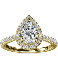 Pear Diamond Bridge Halo Diamond Engagement Ring in 14k Yellow Gold (1/3 ct. tw.)